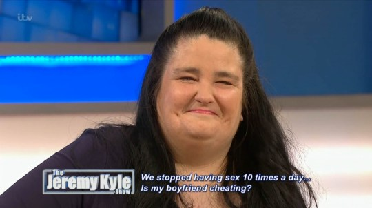 ****Ruckas Videograbs**** (01322) 861777 *IMPORTANT* Please credit ITV for this picture. 06/05/16 The Jeremy Kyle Show - today (6th May), 9:25am, ITV1 Grabs from this morning's show which saw a woman called Sarah-Jane wanting to know why her boyfriend Mark has stopped having sex with her. Sarah-Jane shocked the audience when she spoke about how she and Mark used to have sex up to ten times a day and that she used to dres up as a nurse and they would use a cucumber. Her relationship appeared in tatters though when she failed a lie detector test and she had to admit that she had cheated on Mark. Office (UK) : 01322 861777 Mobile (UK) : 07742 164 106 **IMPORTANT - PLEASE READ** The video grabs supplied by Ruckas Pictures always remain the copyright of the programme makers, we provide a service to purely capture and supply the images to the client, securing the copyright of the images will always remain the responsibility of the publisher at all times. Standard terms, conditions & minimum fees apply to our videograbs unless varied by agreement prior to publication.