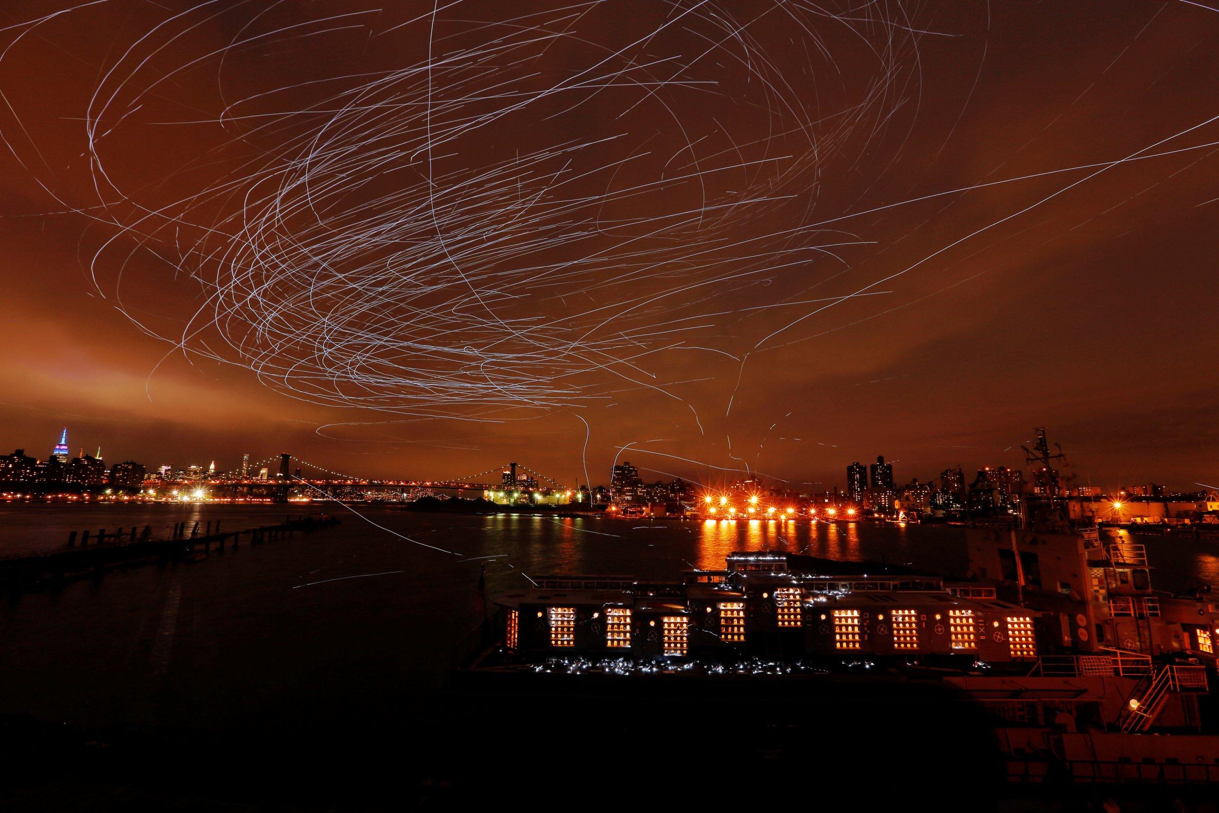 2,000 LED pigeons lit up the New York skyline last night