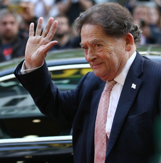 Former British Conservative Party Minister Nigel Lawson poses for pictures as he arrives for the world premiere of the film 'Brexit: the Movie' in London's Leicester Square, on May 11, 2016. / AFP PHOTO / JUSTIN TALLISJUSTIN TALLIS/AFP/Getty Images