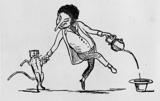 1871: A drawing illustrating a limerick showing a man dancing with a cat and pouring tea into a hat from a tea-pot. More Nonsense - Edward Lear - pub. 1871 (Photo by Hulton Archive/Getty Images)