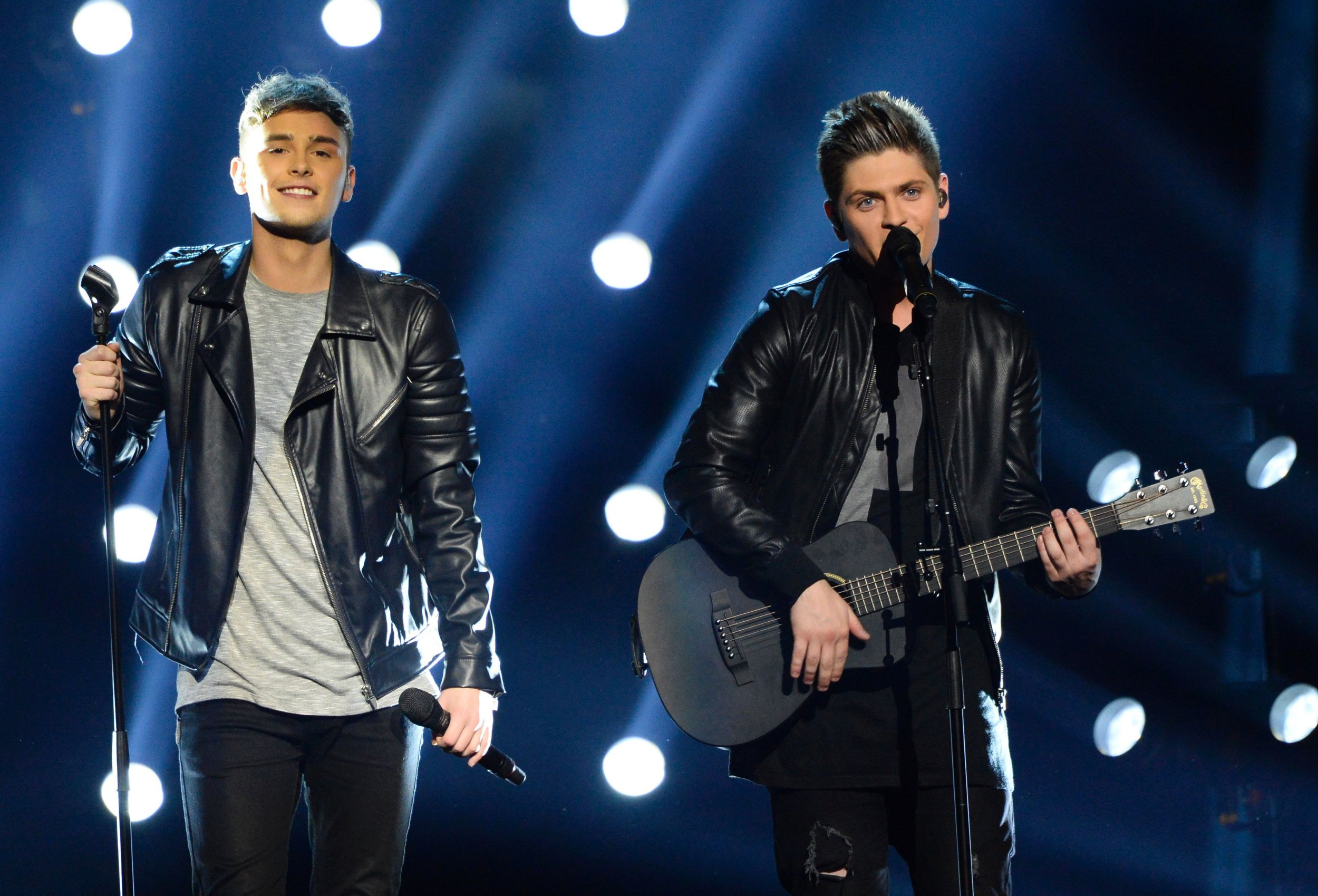 Joe and Jake representing Great Britain with the song 'You're Not Alone' performs during the final of the Eurovision Song Contest 2016 Grand Final in Stockholm, on May 14, 2016. / AFP PHOTO / JONATHAN NACKSTRANDJONATHAN NACKSTRAND/AFP/Getty Images