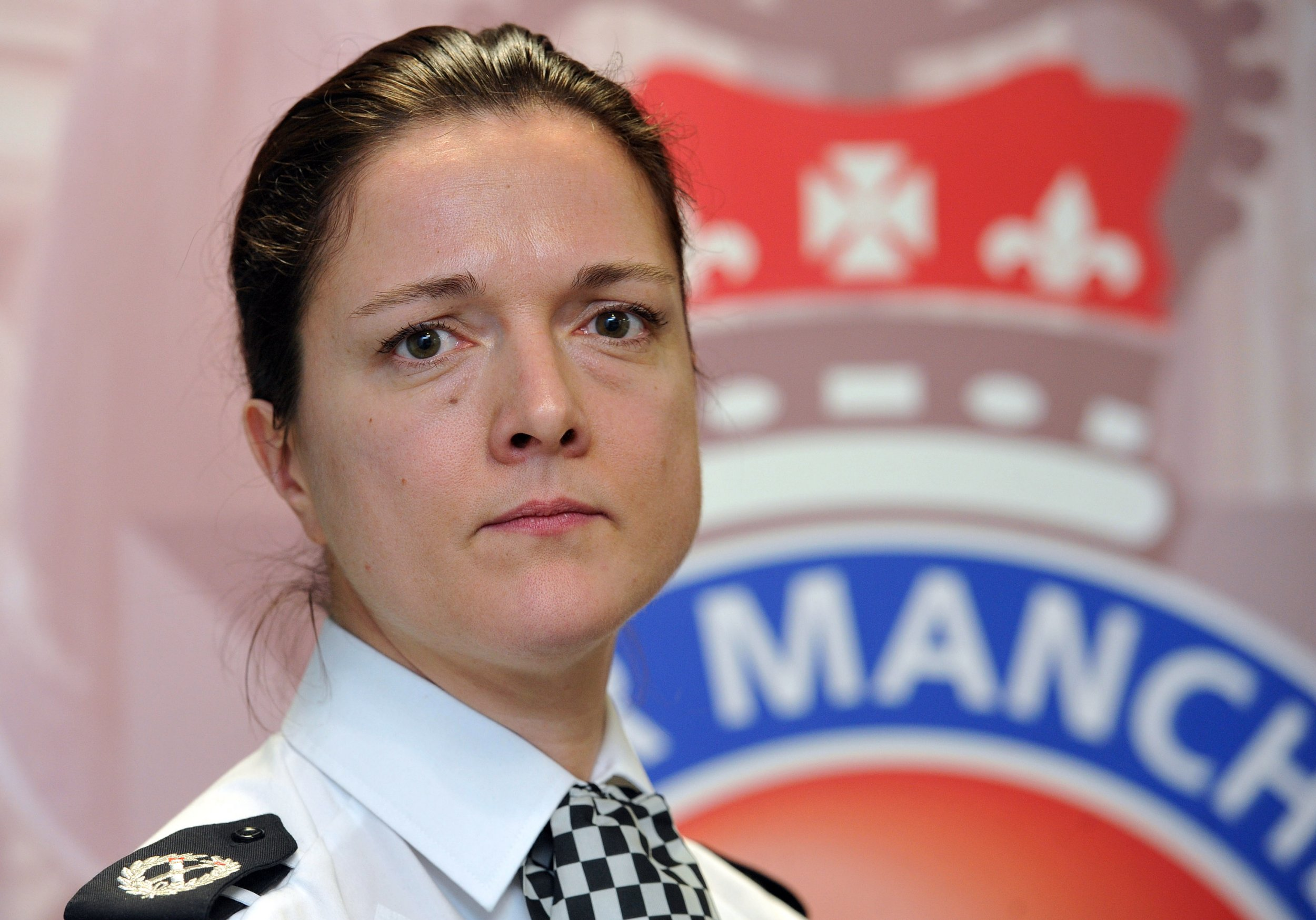 The scene of a murder last night after a Asian man was attacked and died in RochdalenPic shows Police press conference Assistant Chief Constable Rebekah Sutcliffe
