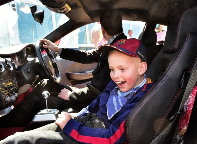 Toby Penrose in one of the cars. A young boy dying from a rare disease fulfilled his dream of riding in a Ferrari - when NINE kind-hearted owners turned up with their supercars. See SWNS story SWFERRARI: Terminally-ill Toby Penrose, 11, told his mum Emily he wanted to sit in the sports car for his 11th birthday. His family put out an appeal on Facebook and were stunned when nine strangers responded to make his dreams a reality. A fleet of Ferraris arrived for his party to the delight to Toby who suffers from the rare degenerative brain disease Adrenoleukodystrophy. The Italian supercars lined up outside the Esplanade Hotel in Newquay, Cornwall on Sunday. Delighted Toby made his way down the red carpet in his wheelchair where he was shown their huge engines.