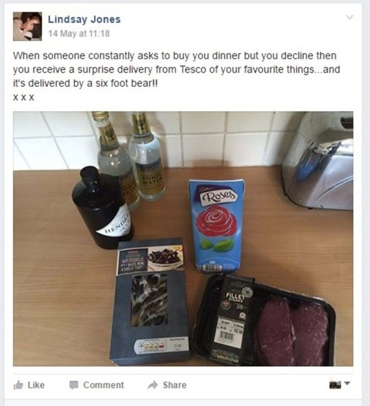 Woman 'creeped out' as date books her a Tesco home delivery