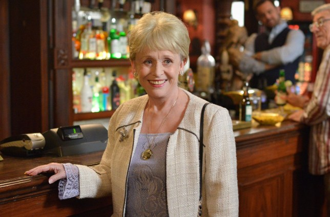 """For use in UK, Ireland or Benelux countries only Undated BBC handout photo Peggy Mitchell (played by Barbara Windsor) as the beloved former Queen Vic landlady said goodbye to Albert Square for the final time, taking her own life in a heartbreaking scene. PRESS ASSOCIATION Photo. Issue date: Tuesday May 17, 2016. Peggy took an overdose after breaking the news to son Grant (Ross Kemp) that her cancer had returned and taken a """"proper grip"""" on her. See PA story SHOWBIZ EastEnders. Photo credit should read: Kieron McCarron/BBC/PA Wire NOTE TO EDITORS: Not for use more than 21 days after issue. You may use this picture without charge only for the purpose of publicising or reporting on current BBC programming, personnel or other BBC output or activity within 21 days of issue. Any use after that time MUST be cleared through BBC Picture Publicity. Please credit the image to the BBC and any named photographer or independent programme maker, as described in the caption."""