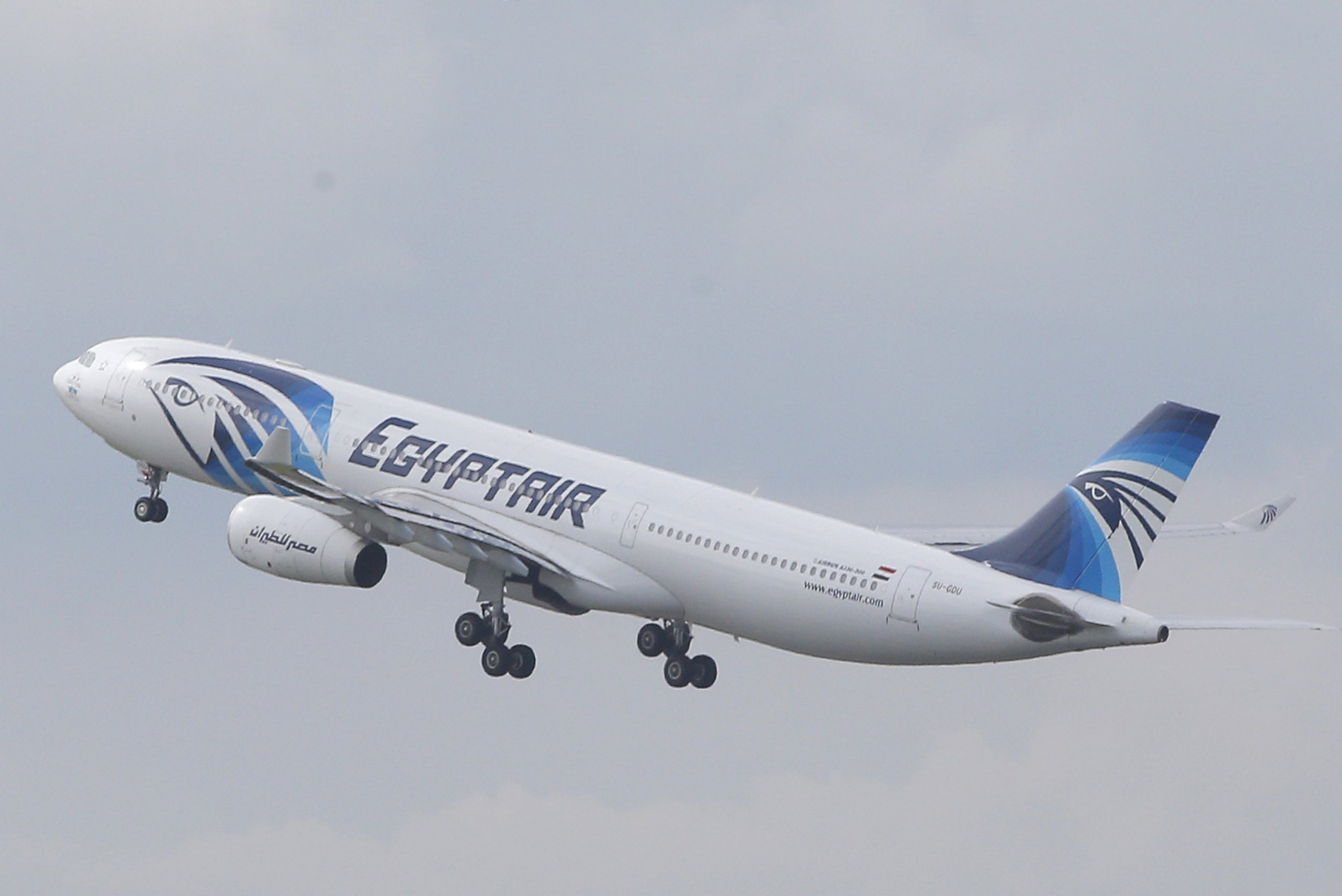 An EgyptAir Airbus A330-300 takes off for Cairo from Charles de Gaulle Airport outside of Paris, Thursday, May 19, 2016. An EgyptAir flight from Paris to Cairo with 66 passengers and crew on board crashed in the Mediterranean Sea early Thursday morning off the Greek island of Crete, Egyptian and Greek officials said. (AP Photo/Christophe Ena)
