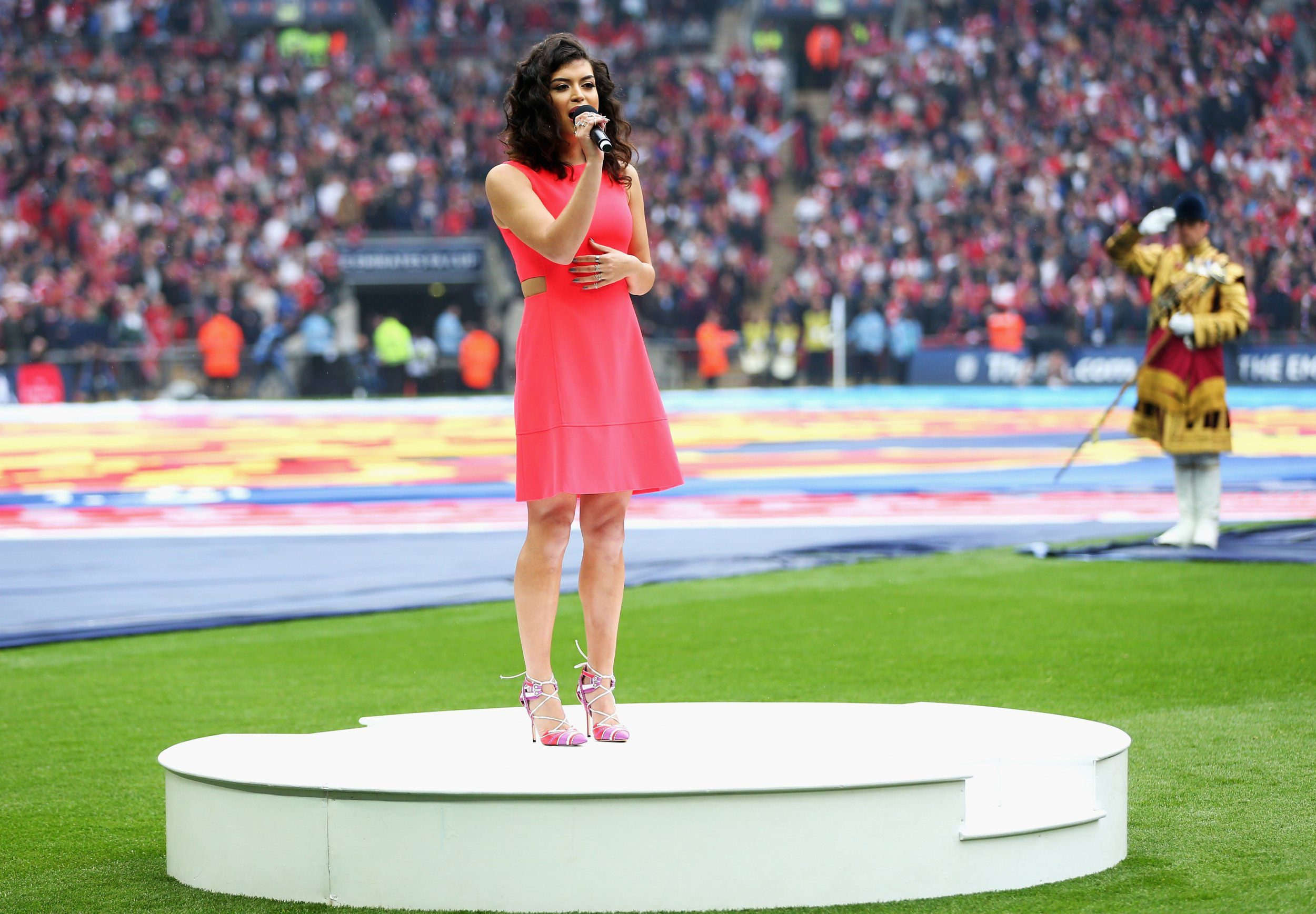 LONDON, ENGLAND - MAY 21:  Karen Harding performs the national anthem prior to The Emirates FA Cup Final match between Manchester United and Crystal Palace at Wembley Stadium on May 21, 2016 in London, England.  (Photo by Alex Morton - The FA/The FA via Getty Images)