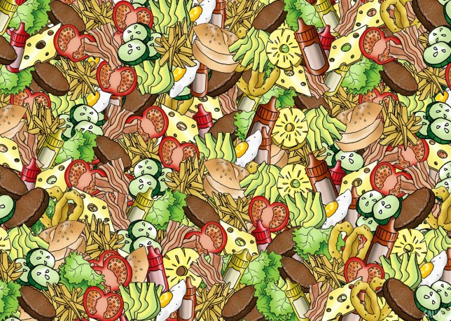 """The latest visual puzzle to bamboozle the web will have you losing your marbles rather than counting your calories. See SWNS story SWGHERKIN; On demand restaurant delivery service deliveroo.co.uk served up this mind-boggling maze of burger ingredients which features just one solitary gherkin ... SOMEWHERE. Illustrator Sally-Ann Heron, 25, said: """"I kept forgetting where it was myself, while I was drawing it. """"It also provide some food for thought, as I was really hungry by the time I'd finished it."""""""