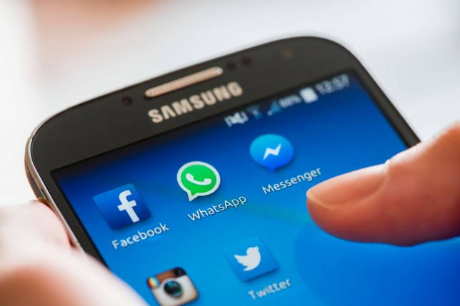 Icon of Facebook, WhatsApp and Messenger (Facebook's proprietary messaging app) alongside other social media apps on a Samsung Galaxy smartphone's touchscreen.