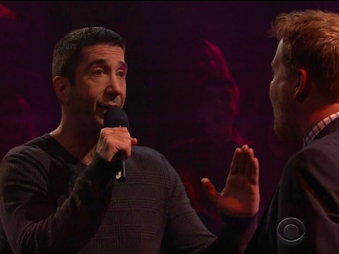 David Schwimmer does rap battle with James Corden and Rebel Wilson – but who dropped the mic?