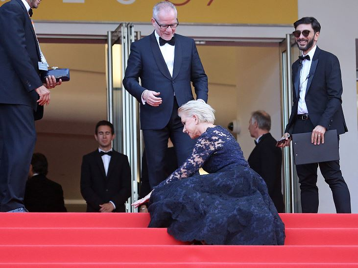 Helen Mirren took a pretty awkward tumble on the Cannes Film Festival red carpet