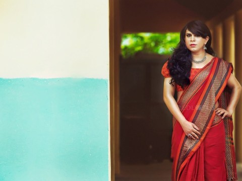 An Indian fashion designer used her new sari collection to celebrate transgender women