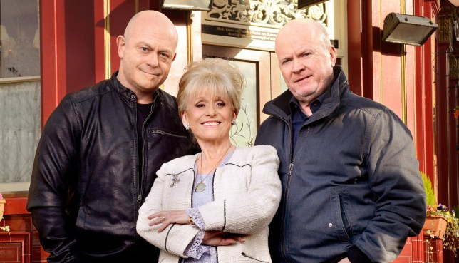 WARNING: Embargoed for publication until 00:00:01 on 10/05/2016 - Programme Name: EastEnders - TX: 19/04/2016 - Episode: EastEnders - Mitchells (No. n/a) - Picture Shows: *STRICTLY NOT FOR PUBLICATION UNTIL 00:01HRS, TUESDAY 10th MAY, 2016* ***FORTNIGHTLIES PLEASE DO NOT USE (SOAP LIFE AND ALL ABOUT SOAP) Grant Mitchell (ROSS KEMP), Peggy Mitchell (BARBARA WINDSOR), Phil Mitchell (STEVE MCFADDEN) - (C) BBC - Photographer: Kieron McCarron