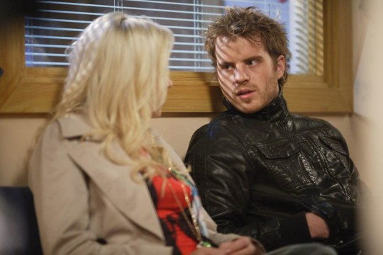 **EMBARGOED FOR PUBLICATION UNTIL THURSDAY 4TH DECEMBER 2008** ©BBC Picture shows: Roxy Mitchell [RITA SIMONS] Sean Slater [ROB KAZINSKY] Tx: BBC One Monday 15th December 2008 At the hospital Roxy gets paranoid when Sean returns as he has been missing all day and is short with her.