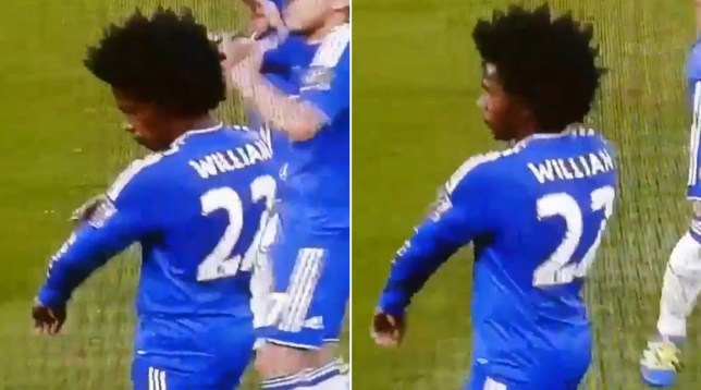 38220d66aa0 Chelsea star Willian mocks Tottenham fans by pointing at gold Premier League  badge