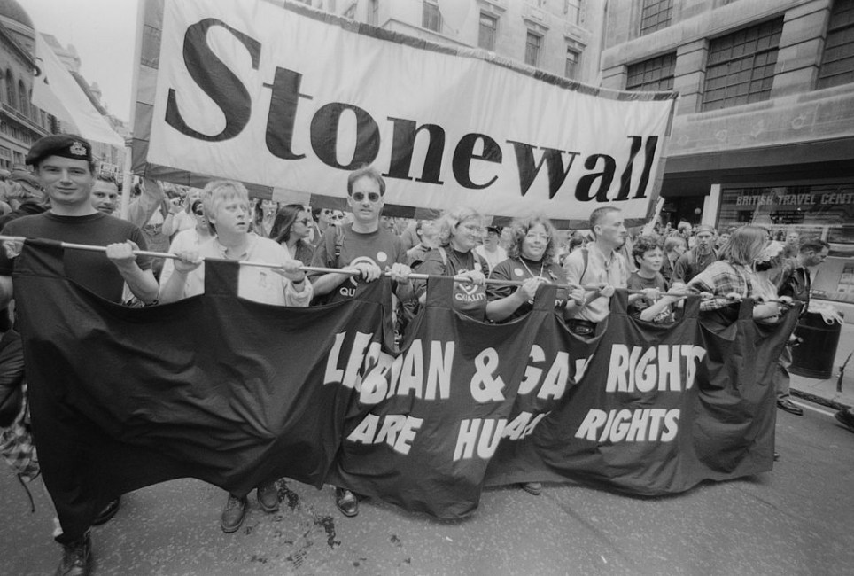 Protestors from lesbian, gay and bisexual rights charity Stonewall during the Gay Pride parade in 1996 (Picture: Getty)