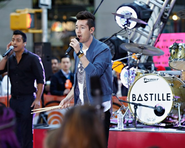 """NEW YORK, NY - OCTOBER 06: Dan Smith performs with Bastille on NBC's """"Today"""" at the NBC's TODAY Show on October 6, 2014 in New York, New York. (Photo by Cindy Ord/Getty Images)"""