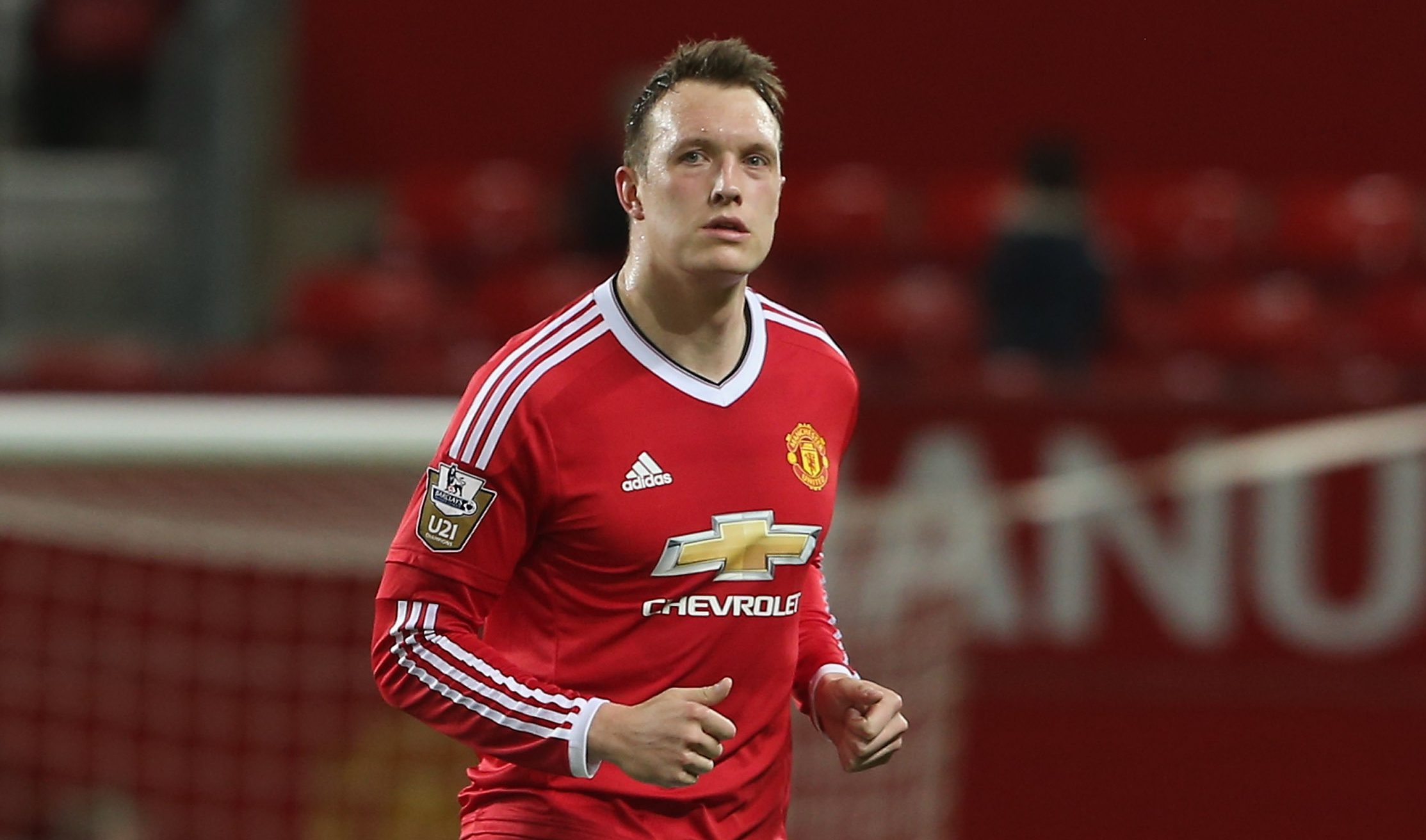MANCHESTER, ENGLAND - APRIL 04: Phil Jones of Manchester United U21s is substituted during the U21 Premier League match between Manchester United U21s and Chelsea U21s at Old Trafford on April 4, 2016 in Manchester, England. (Photo by Matthew Peters/Man Utd via Getty Images)