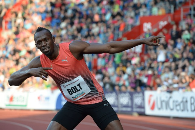 Usain Bolt of Jamaica poses after winning the Men's 100m event at the IAAF World challenge Zlata Tretra (Golden Spike) athletics tournament in Ostrava, on May 20, 2016. / AFP / Michal Cizek (Photo credit should read MICHAL CIZEK/AFP/Getty Images)