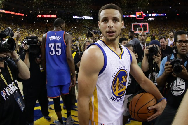 OAKLAND, CA - MAY 30: Stephen Curry #30 of the Golden State Warriors celebrates after defeating the Oklahoma City Thunder 96-88 in Game Seven of the Western Conference Finals during the 2016 NBA Playoffs at ORACLE Arena on May 30, 2016 in Oakland, California. NOTE TO USER: User expressly acknowledges and agrees that, by downloading and or using this photograph, User is consenting to the terms and conditions of the Getty Images License Agreement. (Photo by Ezra Shaw/Getty Images)