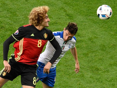 Marouane Fellaini proves he'll elbow anyone by sticking one on Manchester United team-mate Matteo Darmian at Euro 2016