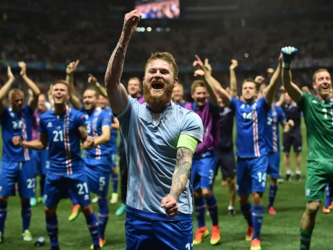 Iceland captain Aron Gunnarsson leads celebrations after famous Euro 2016 win over England