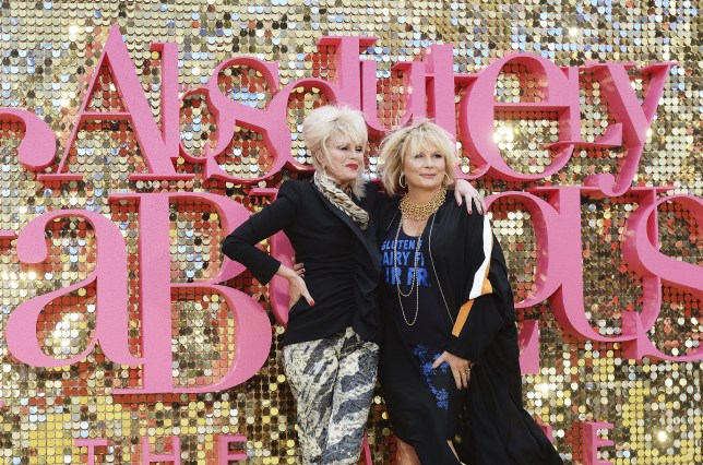 """LONDON, ENGLAND - JUNE 29: Joanna Lumley (L) and Jennifer Saunders attends the World Premiere of """"Absolutely Fabulous: The Movie"""" at Odeon Leicester Square on June 29, 2016 in London, England. (Photo by Dave J Hogan/Dave J Hogan/Getty Images)"""