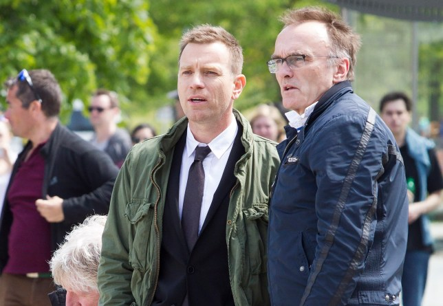 Trainspotting 2 filming outside the Scottish Parliament, with Jonny Lee Miller, Ewan McGregor and director Danny Boyle. June 4 2016. See SWNS story SWTRAIN.