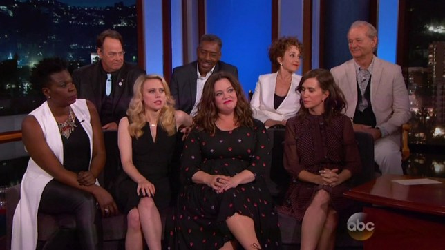 """9 June 2016 - Los Angeles - USA **** STRICTLY NOT AVAILABLE FOR USA *** Original Ghostbusters cast reunite on Jimmy Kimmel Live - and praise the new all-female Ghostbusters cast. Bill Murray and the original 1984 cast have given their stamps of approval to the new remake starring Melissa McCarthy, Kristen Wiig, Kate McKinnon and Leslie Jones. Murray, Dan Aykroyd, Ernie Hudson and Annie Potts expressed very high praise for their franchise successors in the re-imagined female-led reboot. """"We're really really happy,"""" Aykroyd, 63, said about his reaction after watching the movie. """"These women performers are great and all the guys in the movie are just fine too."""" (Aykroyd co-wrote the 1984 script with the late Harold Rami). """"The girls are amazing and really really funny,"""" Hudson, 70, added. Original parapsychologists Murray, 65, also said: """"I couldn't be happier, these girls did a really good job."""" When asked by Kimmel why he this reboot version was so appealing to him, Murray credited the casting choices: """"It was only because these girls were funny. When you see the film, you think 'are these girls gonna pull it off?' There's no quit in these girls, this is a tough movie to pull off, it's a big concept, there's a lot on the plate, there's a lot of expectations."""" The new all-female cast then joined the original cast on Kimmel's sofa. Also on the show, Kimmel featured several Ghosbusters fans who had gotten tattoos based on the movie, including a guy called Mike from Bristol in the UK who had several tattoos on his legs of the original cast. Murray then revealed he had a tattoo himself on his forearm and rolled up his shirt sleeve - to show off a fake tattoo of Mike! Annie Potts then took of her jacket to show her fake tattoo of Mike's face on her shoulder - and Mike laughed and punched the air. XPOSURE PHOTOS DOES NOT CLAIM ANY COPYRIGHT OR LICENSE IN THE ATTACHED MATERIAL. ANY DOWNLOADING FEES CHARGED BY XPOSURE ARE FOR XPOSURE'S SERVICES ONLY, AND DO NOT, NOR AR"""