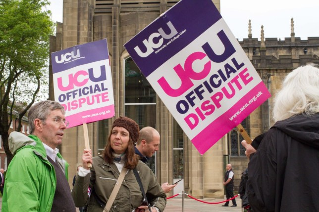 G29F2D University and College Union (UCU) in Sheffield took strike action due to a decrease in their real terms pay over the last few years.