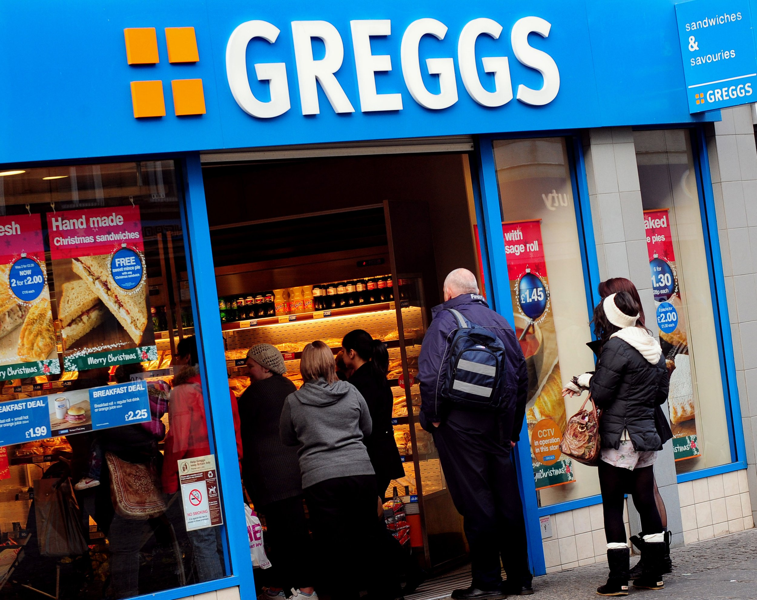 File photo dated 24/11/10 of a Greggs shop, as the high street chain is planning to ramp up its healthy eating options as demand surges for its salads and yoghurts. PRESS ASSOCIATION Photo. Issue date: Sunday June 12, 2016. Chief executive Roger Whiteside told the Press Association that Britain's biggest baker is considering branching out even further from its traditional staples of sausage rolls and doughnuts into Mexican food, and potentially even sushi. See PA story CITY Greggs. Photo credit should read: Rui Vieira/PA Wire