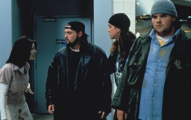 No Merchandising. Editorial Use Only. No Book Cover Usage.nMandatory Credit: Photo by Moviestore/REX/Shutterstock (1583323a)nMallrats, Shannen Doherty, Kevin Smith, Jason Mewes, Ethan SupleenFilm and Televisionnn