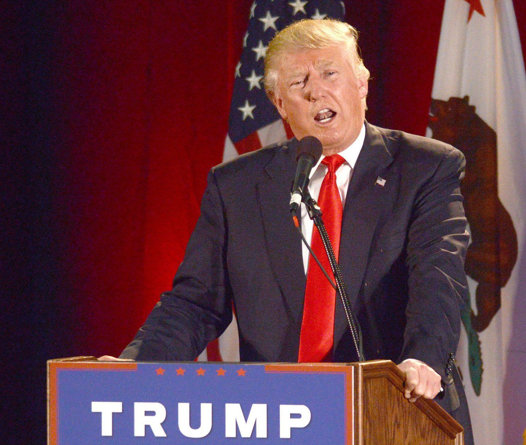 Mandatory Credit: Photo by ddp USA/REX/Shutterstock (5701893h)nDonald TrumpnDonald Trump campaigning in San Jose, California, America - 02 Jun 2016nn