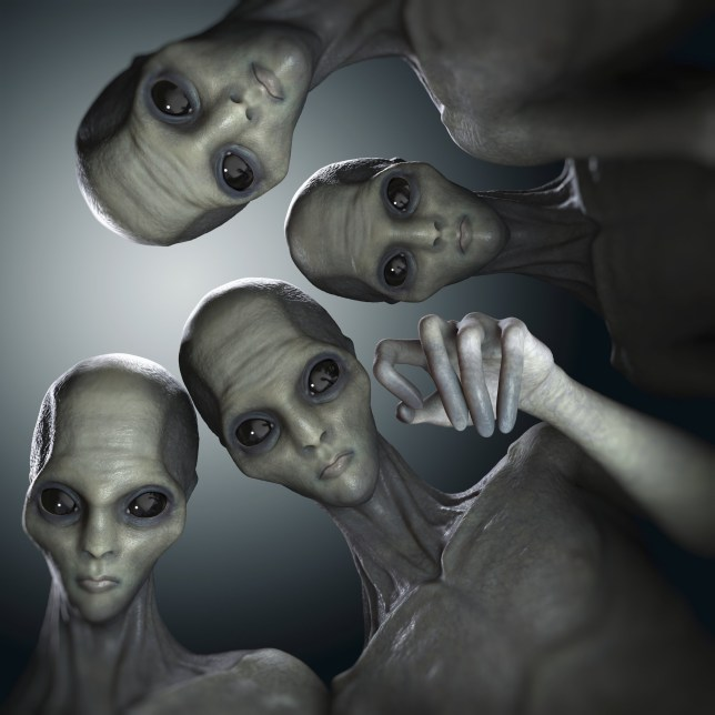Conceptual visualization of multiple aliens or extraterrestrial life.