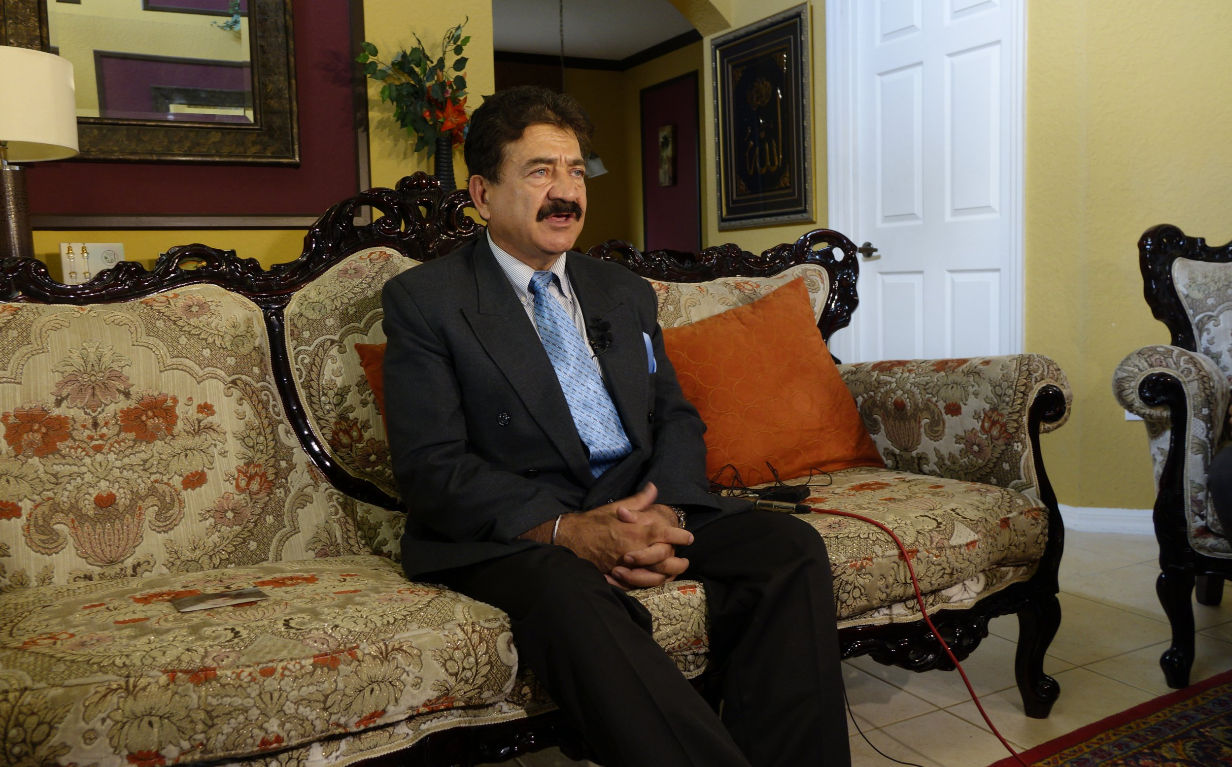 Saddique Mir Mateen, father of Orlando shooter Omar Mateen, speaks to the media at his home in Port St. Lucie, Monday, June 13, 2016. (Joe Cavaretta/Orlando Sentinel via AP) MAGS OUT; NO SALES; MANDATORY CREDIT