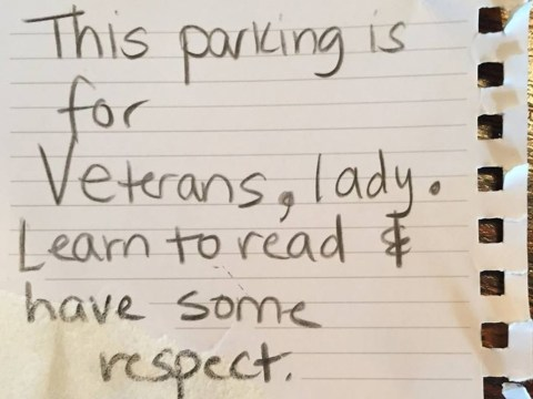 Female veteran blasts 'misogynistic' stranger who left rude note on her car