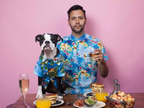 A bunch of dogs posed with their human dads to celebrate Father's day