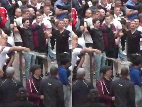 England fan filmed throwing beer over begging children at Euro 2016