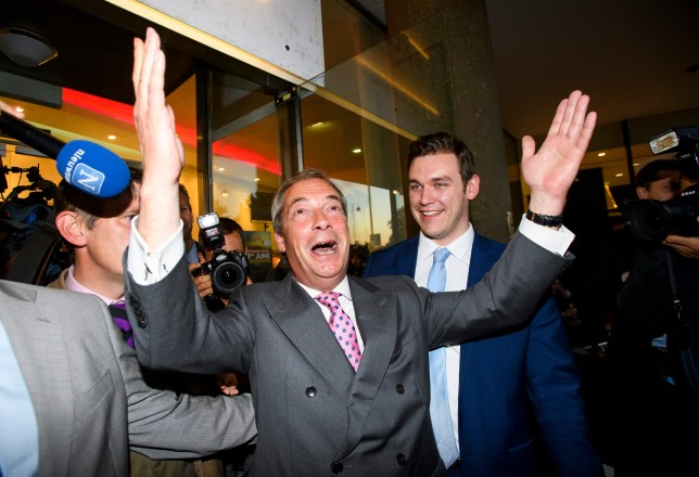 © Licensed to London News Pictures. 23/06/2016. London, UK. UKIP leader Nigel Farage celebrates at a Brexit party in Westminster after early votes suggest a victory for the leave camp. Votes are now counted in the EU referendum after polls closed at 10pm. Photo credit: Ben Cawthra/LNP