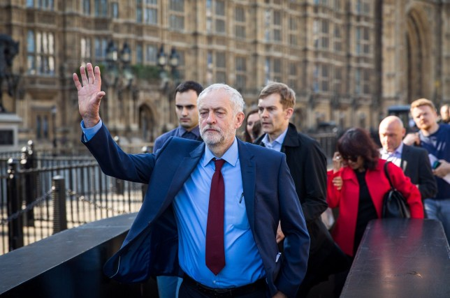 LONDON, ENGLAND - JUNE 24: Jeremy Corbyn MP, leader of the Labour Party, walks towards the Houses of Parliament on June 24, 2016 in London, United Kingdom. The result from the historic EU referendum has now been declared and the United Kingdom has voted to LEAVE the European Union. (Photo by Rob Stothard/Getty Images)