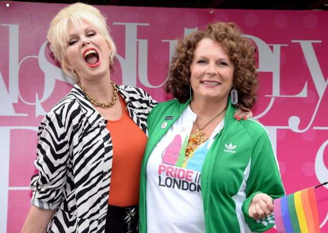 """LONDON, ENGLAND - JUNE 25: Jennifer Saunders as Eddie and Joanna Lumley as Patsy, the stars of """"Absolutely Fabulous: The Movie"""" attend Pride on June 25, 2016 in London, England. (Photo by Anthony Harvey/Getty Images)"""