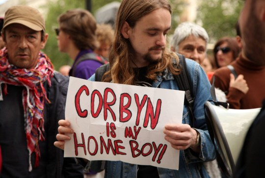 Mandatory Credit: Photo by Natasha Quarmby/REX/Shutterstock (5737076l) A small group of pro Jeremy Corbyn protestors attempted to protest outside Downing Street, who then moved onto the media village outside the Houses of Parliament. 'Keep Corbyn In' protest, London, UK - 26 Jun 2016