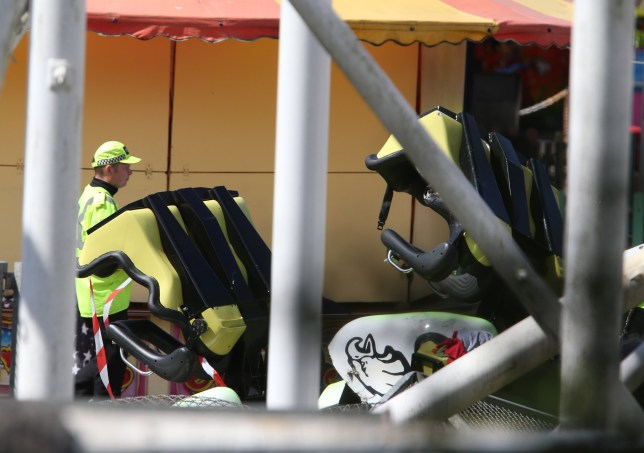 Police corden at the scene of the rollercoaster crash at M&D's theme park near Strathclyde Park, North Lanarkshire where eight children and two adults were injured when the ride derailed on Sunday. PRESS ASSOCIATION Photo. Picture date: Monday June 27, 2016. See PA story ACCIDENT Rollercoaster. Photo credit should read: Andrew Milligan/PA Wire