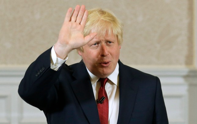 Former London mayor Boris Johnson waves as he announces that he will not run for leadership of Britain's ruling Conservative Party in London, Thursday, June 30, 2016. The battle to succeed Prime Minister David Cameron as Conservative Party leader has drawn strong contenders with the winner set to become prime minister and play a vital role in shaping Britain's relationship with the European Union after last week's Brexit vote. (AP Photo/Matt Dunham)