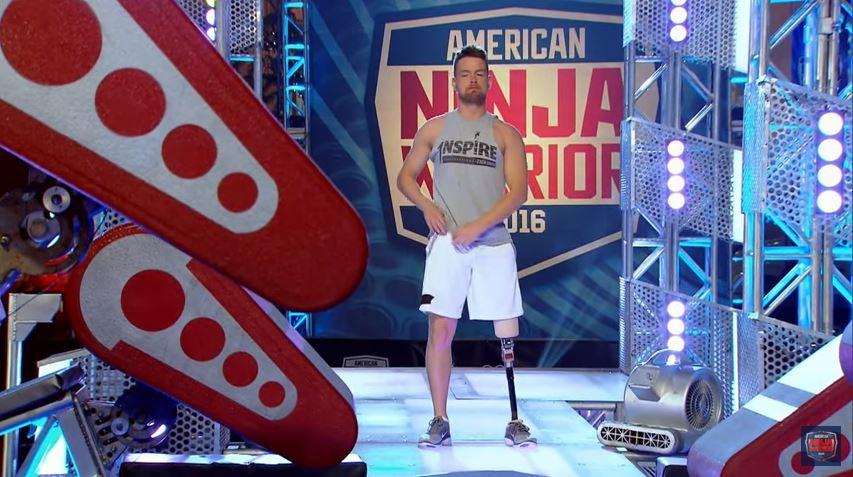 One-legged Zach Gowen took on the American Ninja Warrior course (Picture: American Ninja Warrior)