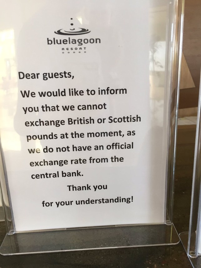 British holidaymakers are having problems exchanging money and using cards already Picture: Twitter