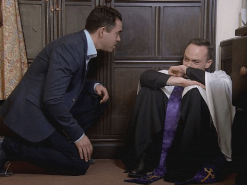 WATCH: Coronation Street spoiler videos show vicar Billy breaking down at Callum Logan's funeral