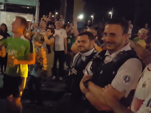 French police can't resist joining in the chants with Ireland fans