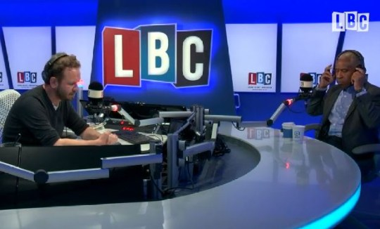 James O'Brien (L) was joined by Operation Black Vote's Simon Woolley (Picture: LBC)