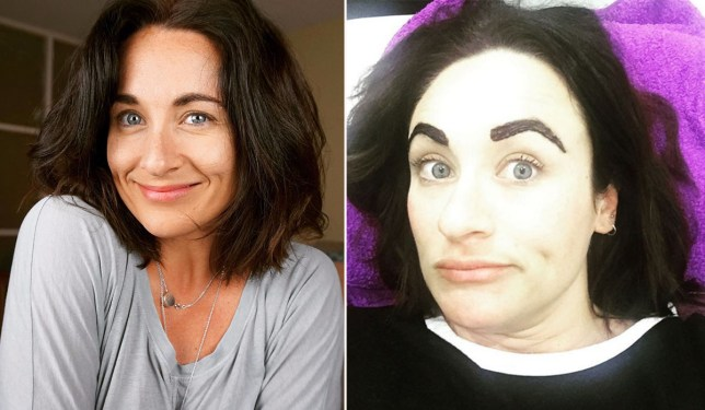 Woman gets her eyebrows tinted while waiting to give birth Credit: Mollie Harwood/Instagram